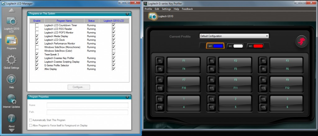 Screenshots of LCD Manager and G-Profiler