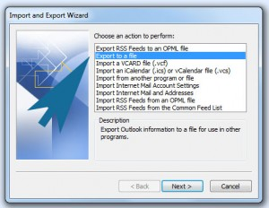 Outlook export to file