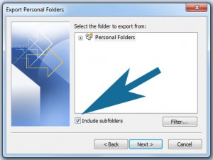 Outlook - selecting subfolders
