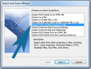 Import selection menu